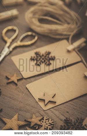 Christmas. Gifts. Cardboard Name Tags On A String
