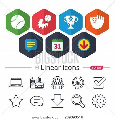 Calendar, Speech bubble and Download signs. Baseball sport icons. Ball with glove and two crosswise bats signs. Fireball with award cup symbol. Chat, Report graph line icons. More linear signs