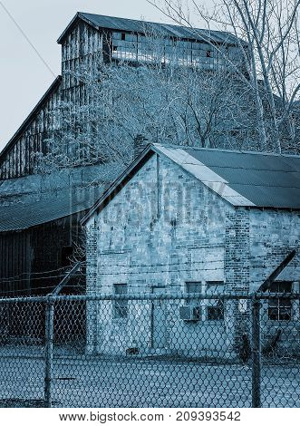 Old abandon steel factory near Detroit blues