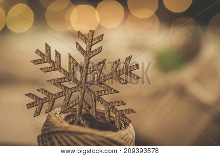 Christmas. Gifts. Vintage Style Snowflake With Bokeh Lights