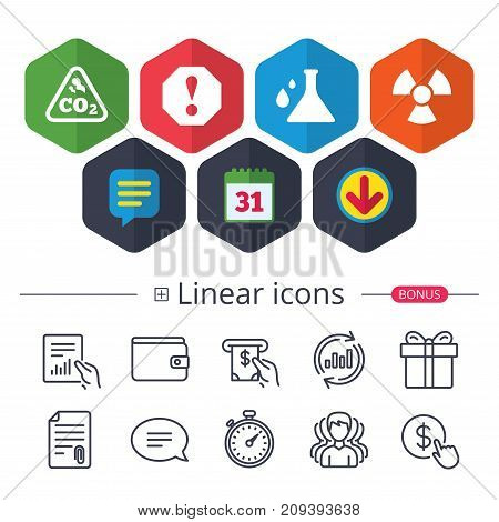 Calendar, Speech bubble and Download signs. Attention and radiation icons. Chemistry flask sign. CO2 carbon dioxide symbol. Chat, Report graph line icons. More linear signs. Editable stroke. Vector