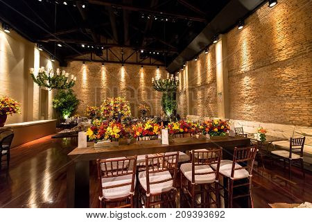 SAO PAULO BRAZIL - OCTOBER 07 2017: Horizontal picture of big party room with amazing furniture for a wedding party in the city of Sao Paulo Brazil.