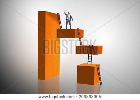 Businessman climbing blocks in challenge business concept