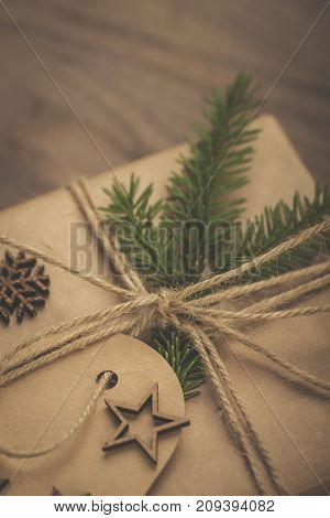 Christmas. Vintage Style Gift Boxes On A Rustic Wooden Table
