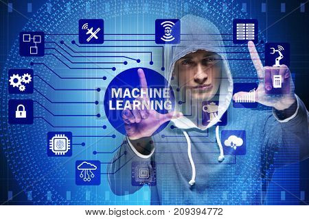 Hacker in machine learning concept
