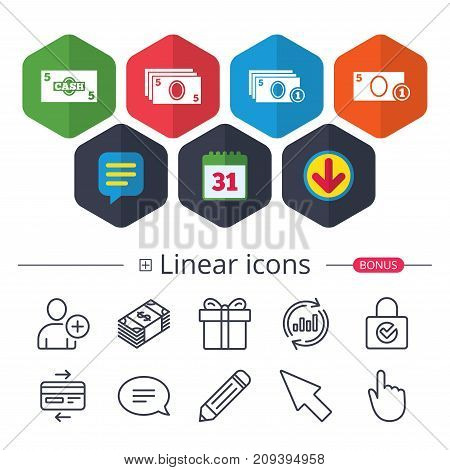 Calendar, Speech bubble and Download signs. Businessman case icons. Currency with coins sign symbols. Chat, Report graph line icons. More linear signs. Editable stroke. Vector