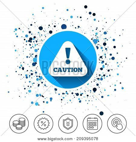 Button on circles background. Attention caution sign icon. Exclamation mark. Hazard warning symbol. Calendar line icon. And more line signs. Random circles. Editable stroke. Vector