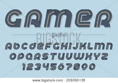 Gamer vector decorative italic font design alphabet typeface typography. Vector illustration