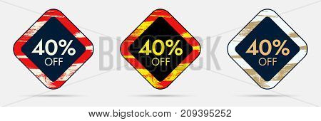 40 percent Off Sticker. 40 Off Sale and Discount Price Banner. Vector Frame with Grunge and Price Discount Offer