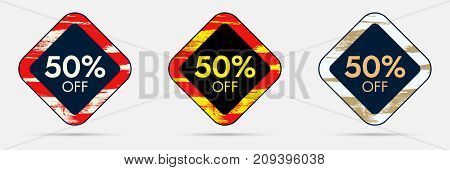 50 percent Off Discount Sticker. 50 Off Sale and Discount Price Banner. Vector Frame with Grunge and Price Discount Offer