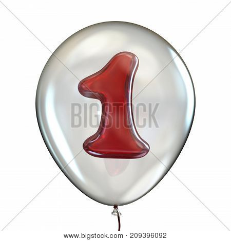 Number One 1 In Transparent Balloon 3D