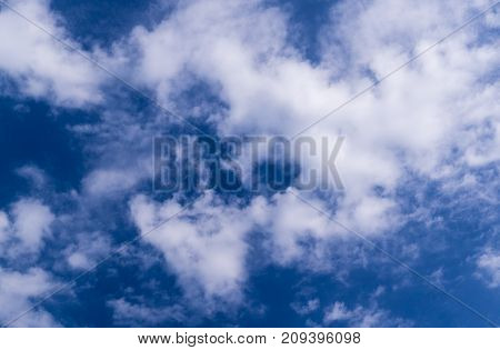 bright blue sky with clouds and sun. cumulus background weather.