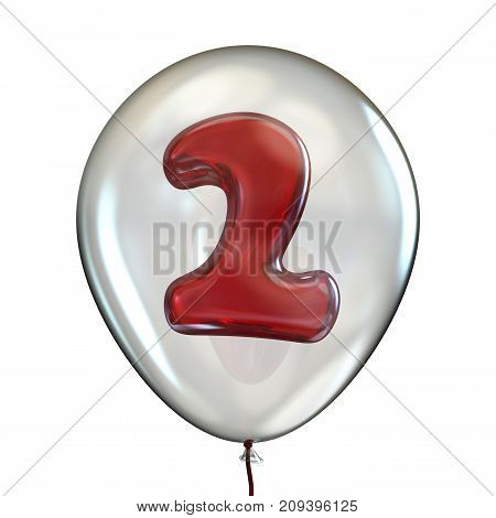 Number Two 2 In Transparent Balloon 3D