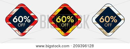 60 percent Off Discount Sticker. 60 Off Sale and Discount Price Banner. Vector Frame with Grunge and Price Discount Offer