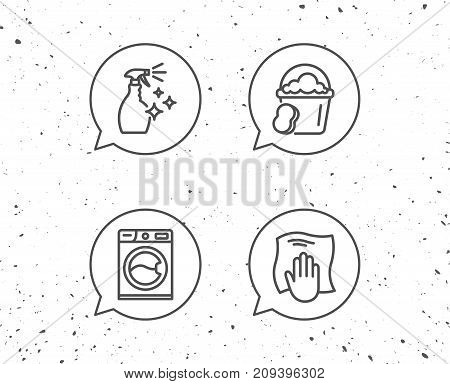 Speech bubbles with signs. Cleaning spray, Washing machine and Housekeeping service line icons. Laundry, Sponge and Bucket signs. Maid equipment and Wipe with hand symbols. Grunge background. Vector