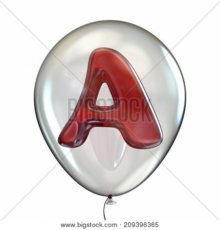 Letter A In Transparent Balloon 3D