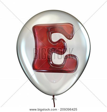 Letter E In Transparent Balloon 3D