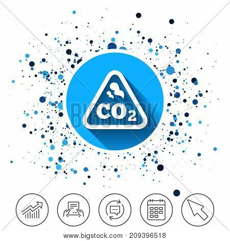 Button on circles background. CO2 carbon dioxide formula sign icon. Chemistry symbol. Calendar line icon. And more line signs. Random circles. Editable stroke. Vector