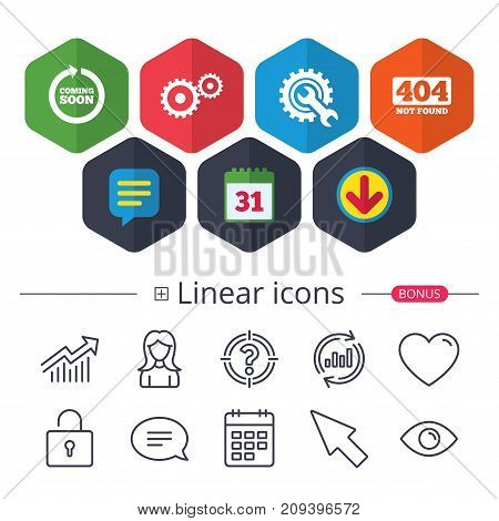 Calendar, Speech bubble and Download signs. Coming soon rotate arrow icon. Repair service tool and gear symbols. Wrench sign. 404 Not found. Chat, Report graph line icons. More linear signs. Vector