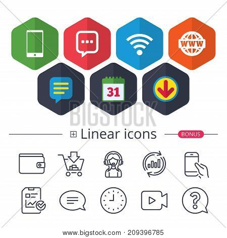 Calendar, Speech bubble and Download signs. Communication icons. Smartphone and chat speech bubble symbols. Wifi and internet globe signs. Chat, Report graph line icons. More linear signs. Vector