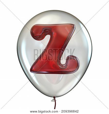 Letter Z In Transparent Balloon 3D