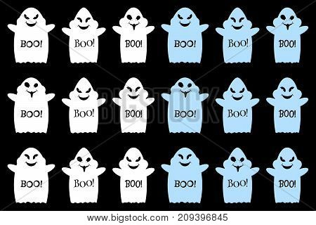 Funny ghost with smile cheeks pupils of the eyes hands and inscription Boo. Set of vector ghosts halloween in white and light blue color