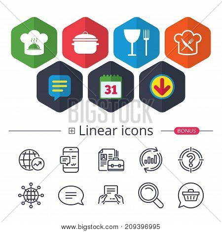 Calendar, Speech bubble and Download signs. Chief hat and cooking pan icons. Crosswise fork and knife signs. Boil or stew food symbols. Chat, Report graph line icons. More linear signs. Vector
