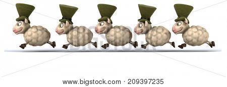 Fun sheeps - 3D Illustration
