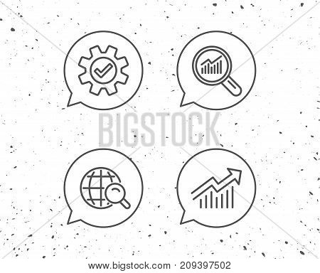 Speech bubbles with signs. Analysis, Statistics line icons. Chart, Report and Audit magnifier signs. Data and Presentation symbols. Grunge background. Editable stroke. Vector