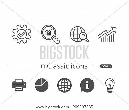 Analysis, Statistics line icons. Chart, Report and Audit magnifier signs. Data and Presentation symbols. Information speech bubble sign. And more signs. Editable stroke. Vector