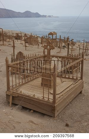 Pisagua, Tarapaca Region, Chile - August 30, 2017: Historic cemetery from the era of nitrate mining in the Atacama Desert, at Pisagua on the coast of northern Chile