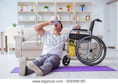 Disabled man recovering from injury at home poster