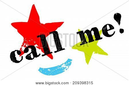 Call me sticker. Authentic design graphic stamp. Original series