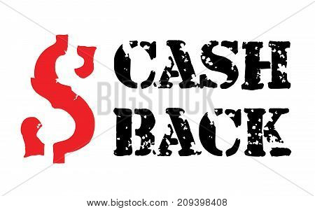 Cash back sticker. Authentic design graphic stamp. Original series