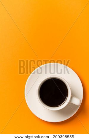 Coffee cup background. Top view. With space for your text.