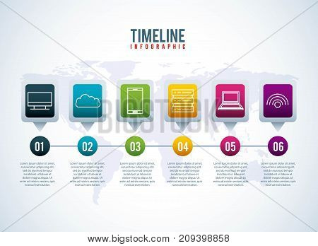 timeline infographic world conection storage system information tecgnology vector illustration