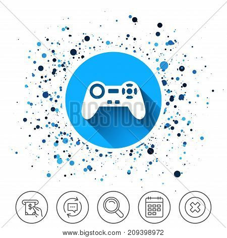 Button on circles background. Joystick sign icon. Video game symbol. Calendar line icon. And more line signs. Random circles. Editable stroke. Vector