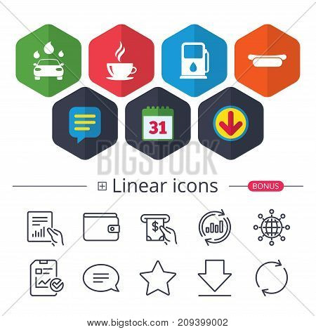 Calendar, Speech bubble and Download signs. Petrol or Gas station services icons. Automated car wash signs. Hotdog sandwich and hot coffee cup symbols. Chat, Report graph line icons. More linear signs