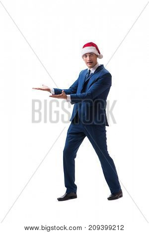 Young busnessman wearing santa hat in christmas concept on white