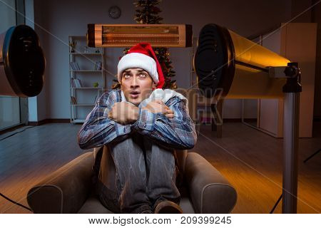 Man suffering from cold at home