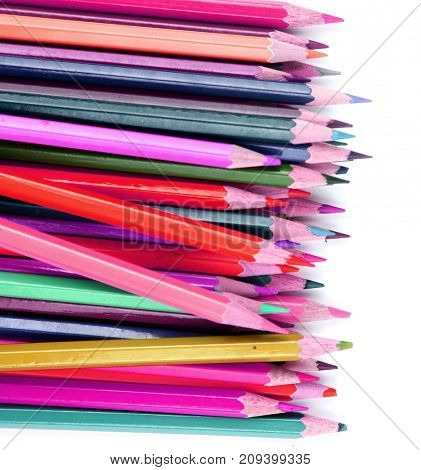Close up of color pencils with