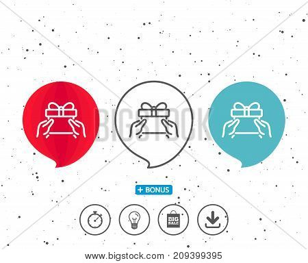 Speech bubbles with symbol. Give a Gift box line icon. Present or Sale sign. Birthday Shopping symbol. Package in Gift Wrap. Bonus with different classic signs. Random circles background. Vector