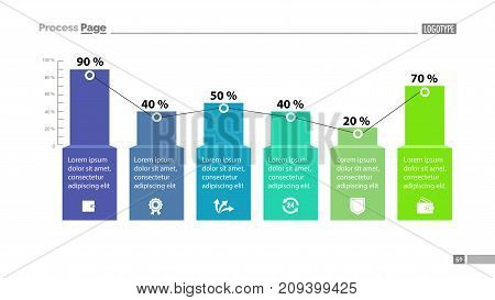 Percentage bar chart with six elements. Business data. Design, chart, diagram. Creative concept for infographics, template, presentation, report. Can be used for topics like marketing, analysis, research.