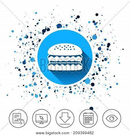 Button on circles background. Hamburger icon. Burger food symbol. Cheeseburger sandwich sign. Calendar line icon. And more line signs. Random circles. Editable stroke. Vector