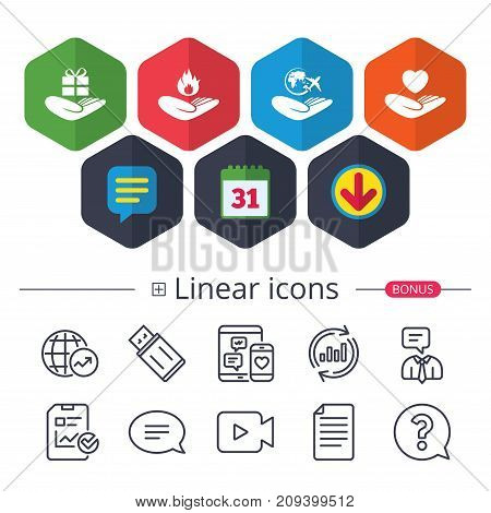 Calendar, Speech bubble and Download signs. Helping hands icons. Health and travel trip insurance symbols. Gift present box sign. Fire protection. Chat, Report graph line icons. More linear signs