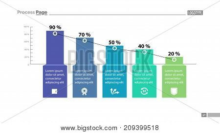 Percentage bar chart with five elements. Business data. Graph, background, design. Creative concept for infographic, template, presentation, performance, report. Can be used for topics like marketing.