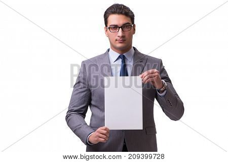 Businessman with blank message board isolated on white