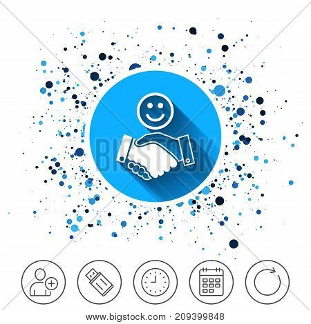 Button on circles background. Smile handshake sign icon. Successful business with happy face symbol. Calendar line icon. And more line signs. Random circles. Editable stroke. Vector