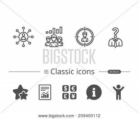 Head hunting, Business Networking and Teamwork line icons. Get a Job, Communication and Team work results signs. Information speech bubble sign. And more signs. Editable stroke. Vector