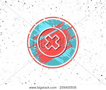 Grunge button with symbol. Delete line icon. Remove sign. Cancel or Close symbol. Random background. Vector